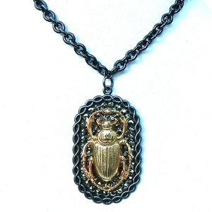 GASOLINE GLAMOUR Jewelry - RANSOM RHINESTONE GOLD XL SCARAB NECKLACE SAMPLE